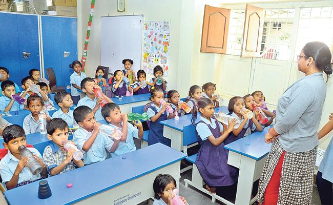 Drink on the Sound of the Bell: Some Schools In Hyderabad Follow This Idea - Sakshi