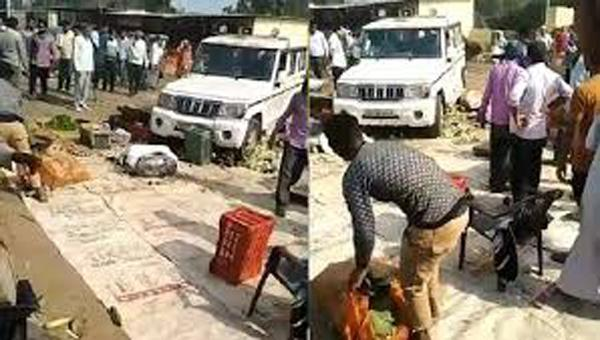Video Shows UP Officials SUV Crushing Farmers Vegetables - Sakshi