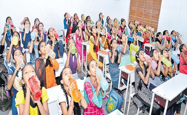 Telangana Government Providing Drinking Water Facility For Students  - Sakshi