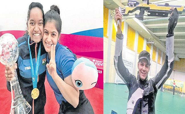 Manu, Elavenil, Divyansh Treat India To Triple Gold - Sakshi