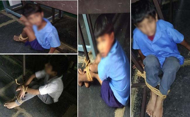 Photos Of Punished Kadiri Municipal Students Go Viral - Sakshi