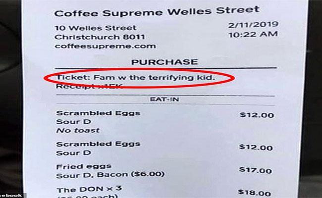 Restaurant Waiter Bill Typed By Terrifying Kid In New Zealand - Sakshi