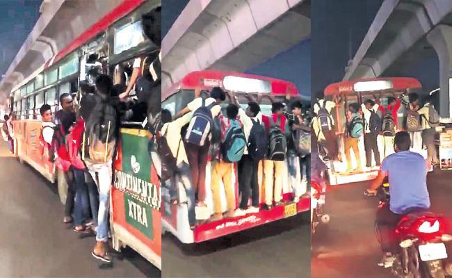 Students Dangerous Journey in Hyderabad City Bus - Sakshi