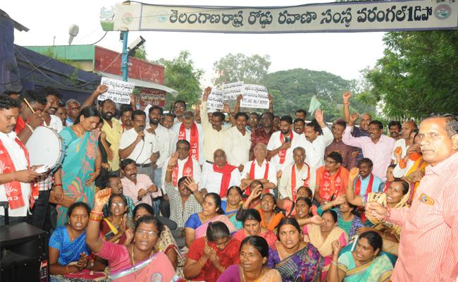 CPI Leader Narayana Meets RTC Workers In Warangal - Sakshi