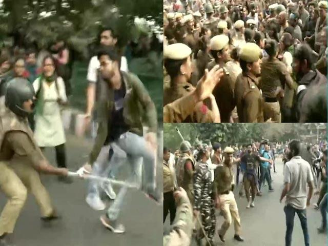JNU students lathicharged by police during march to towards Rashtrapati Bhavan - Sakshi