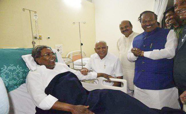 CM yeddyurappa Wish to Siddaramaiah in Hospital - Sakshi
