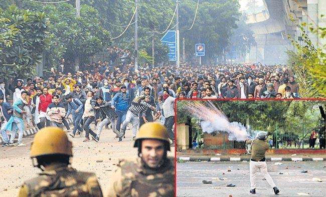 Jamia students stage protest against Citizenship Amendment Bill - Sakshi