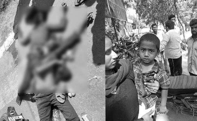 Father Died in Bike Accident Guntur - Sakshi