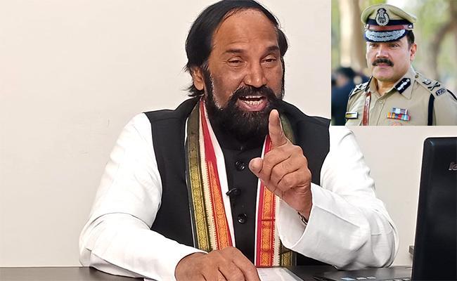 Uttam Kumar Fires CP Anjani Kumar In Gandhi bhavan - Sakshi