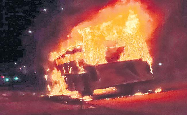 Private Travel Bus was Burned - Sakshi