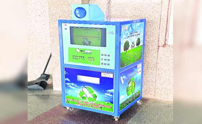 Water Bottle Crushed machine Arranged In Warangal Railway Station - Sakshi