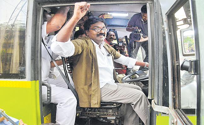 Transport Minister Puvvada Ajay Kumar Drives RTC Bus - Sakshi