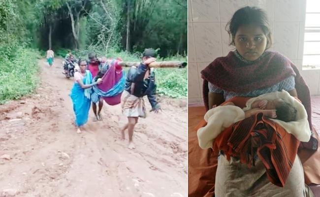 Relatives Walk With Doli 10 KM For Pregnant Women Safe Delivery - Sakshi