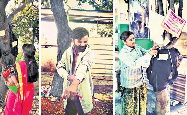 People Hang Jackets On Trees For Poor And Homeless People - Sakshi