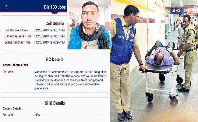 Hyderabad Police React in Seven Minits to Dial100 Call Saved Suicide Victim - Sakshi