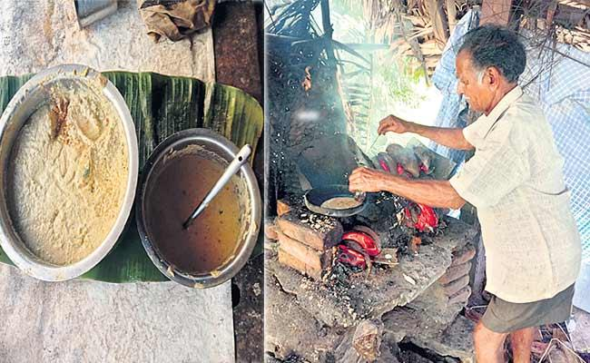 An Old Man From The East Godavari District Bakes Bread On A Brick Oven - Sakshi