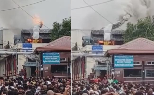 Fire Accident At Tirumala Boondi Potu - Sakshi