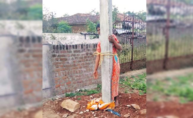 Woman Tied Pole And Beaten With Stones And Slippers in Siddipet - Sakshi