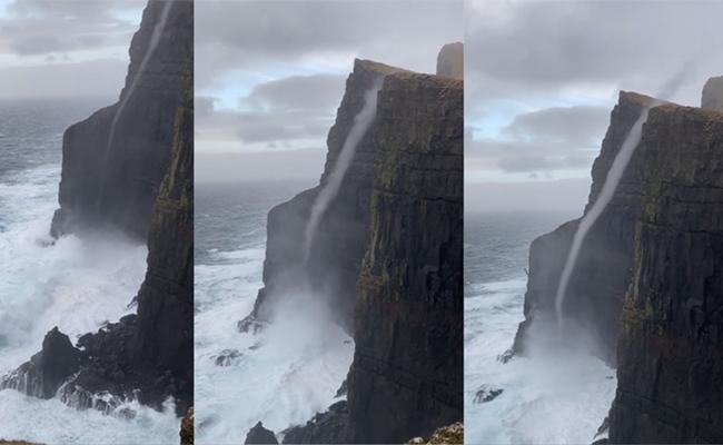Water Flowing Upwards Reaches Cliff Edge Spectacular Video - Sakshi