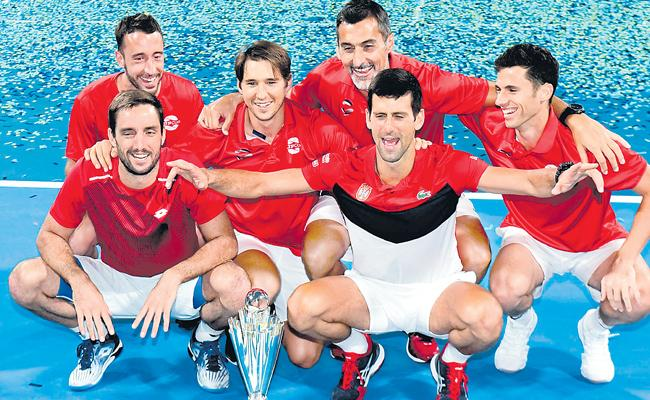 Djokovic Leads Serbia To Win Over Spain In ATP Cup Final - Sakshi