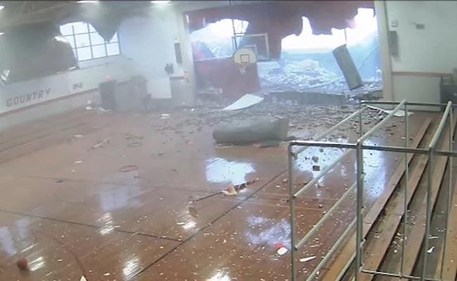 Horrifying Video Shows Storm Crash Gym Walls Of School - Sakshi