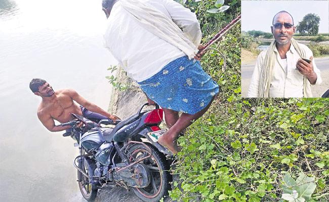 Stranger Saved Two Young Man Fall In Reservoir In Guntur District - Sakshi