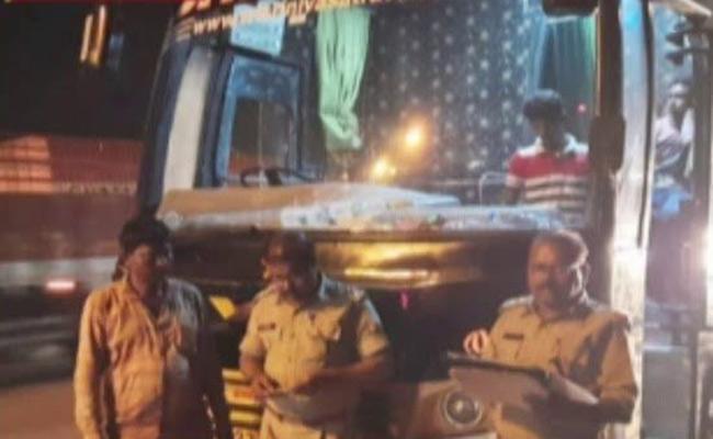 RTA Raids On Private Travel Buses In Krishna District - Sakshi