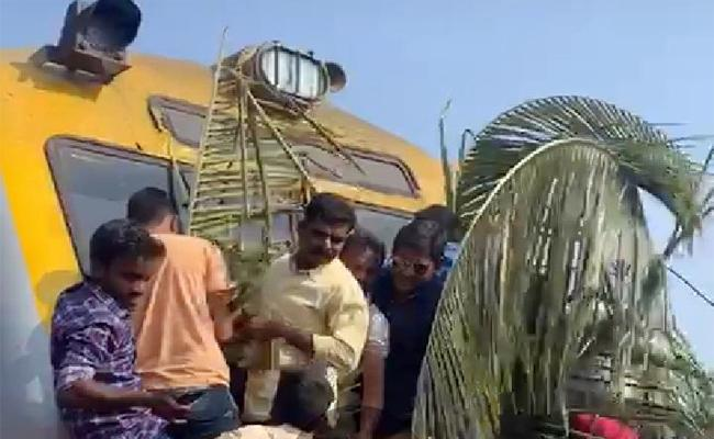 Villagers Celebrate New Year With Train Decaration in West Godavari - Sakshi