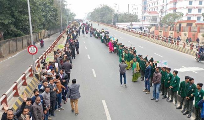 BiharHumanChain2020 trended in support of developments in Bihar - Sakshi