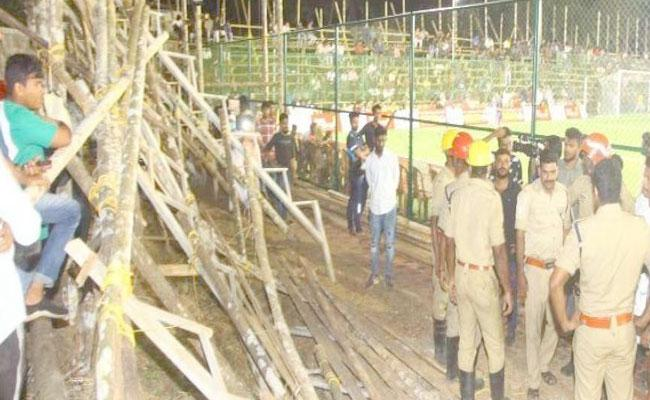 Football Ground Temporary Gallery Collapses In Palakkad - Sakshi