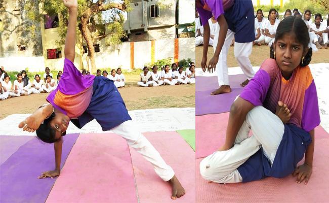 Government School Students Yoga in West Godavari - Sakshi