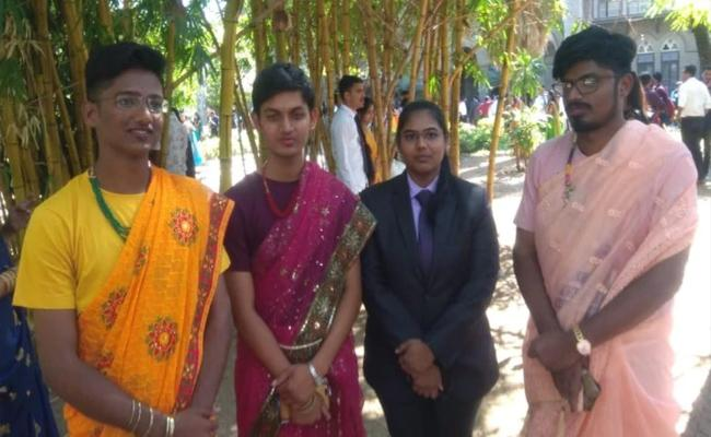 Pune College Boys Dress Up In Sarees On Traditional Day About Gender Equality - Sakshi