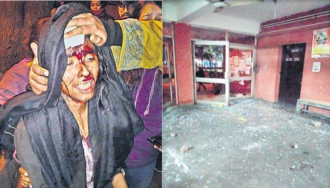 Masked men attack JNU students and teachers - Sakshi