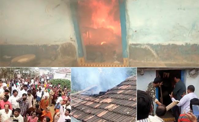 Man Murdered Brutally In Aleru His Relatives Set Ablaze Accused Home - Sakshi