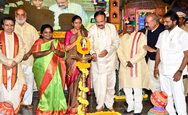 Venkaiah Naidu Participated In Shilparamam Sankranti Celebration - Sakshi