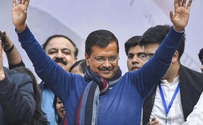 Arvind Kejriwal Hat Trick Win In Delhi Assembly Elections - Sakshi