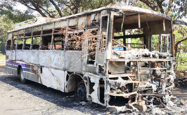 RTC Officers Inquiry on Bus Fire in Bike Accident YSR Kadapa - Sakshi