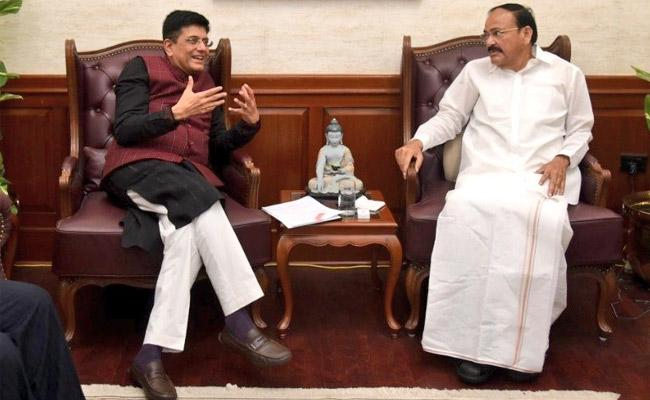 Venkaiah Naidu enquired about progress of various projects in AP and Telangana - Sakshi