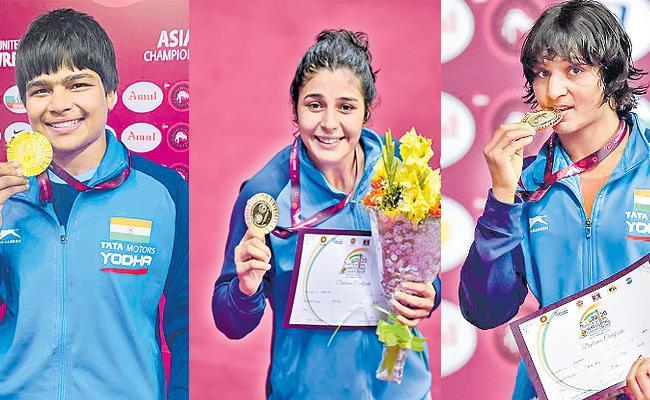 Indian Women Wrestlers Won Three Gold Medals At Asian Senior Wrestling - Sakshi