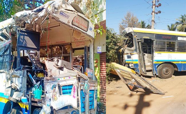 Two RTC Busses Accident in East Godavari - Sakshi