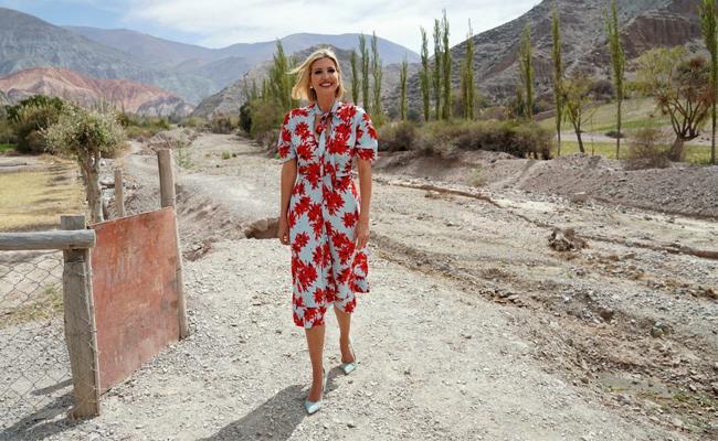 Trump India Tour: Ivanka Trump In Midi Dress With Floral Prints - Sakshi