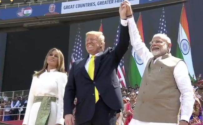 Donald Trump And PM Modi Visits Motera Cricket Stadium - Sakshi