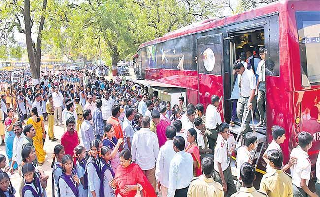 ISRO Space On Wheel Bus Reached Medak On Monday - Sakshi