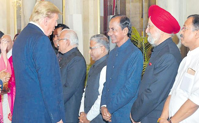 Trump India Visit:KCR Attended President Lunch With Trump - Sakshi