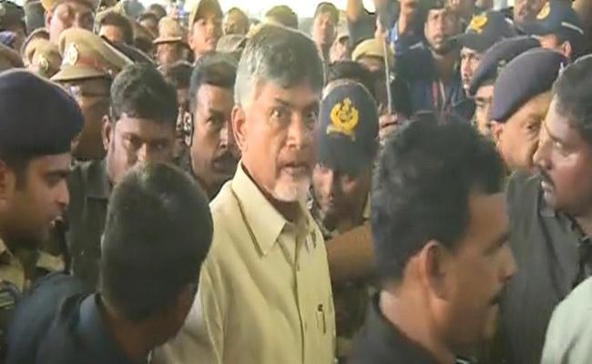 Chandrababu Naidu Warning To AP Police Over Vizag Protest - Sakshi