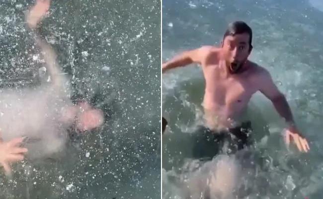 Tiktok Star Swims Under Ice Water Went Viral - Sakshi