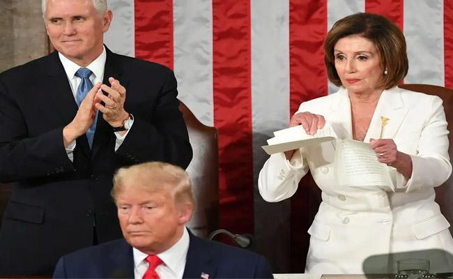 Nancy Pelosi Rips Up State Of The Union Speech After Trump Snubs Handshake - Sakshi