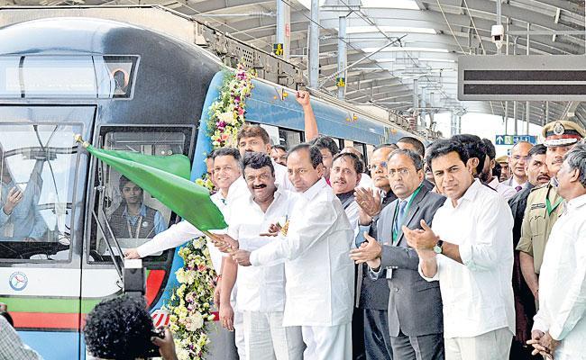 CM KCR Started JBS To MGBS Metro Rail Services - Sakshi