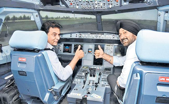 KTR Attended Inauguration Of Flight Simulation Technique Center At Hyderabad - Sakshi