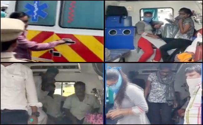 Telangana LockDown: Ambulance Drivers Moving Passengers - Sakshi